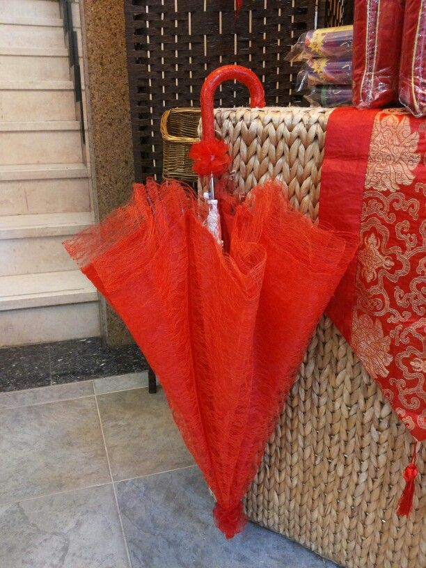 Red Umbrella Used In Chinese Traditional Wedding
