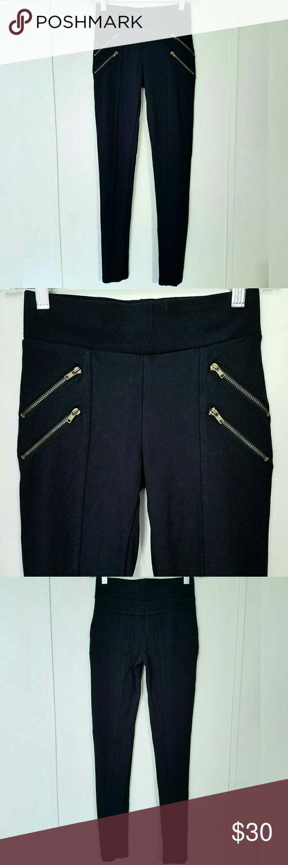 650a6c6d0e8ab Zara Basic Zipper Leggings Zara Basic black paneled leggings with double gold  zippers on each side. Zippers are not actually pockets. Stretchy and comfy!