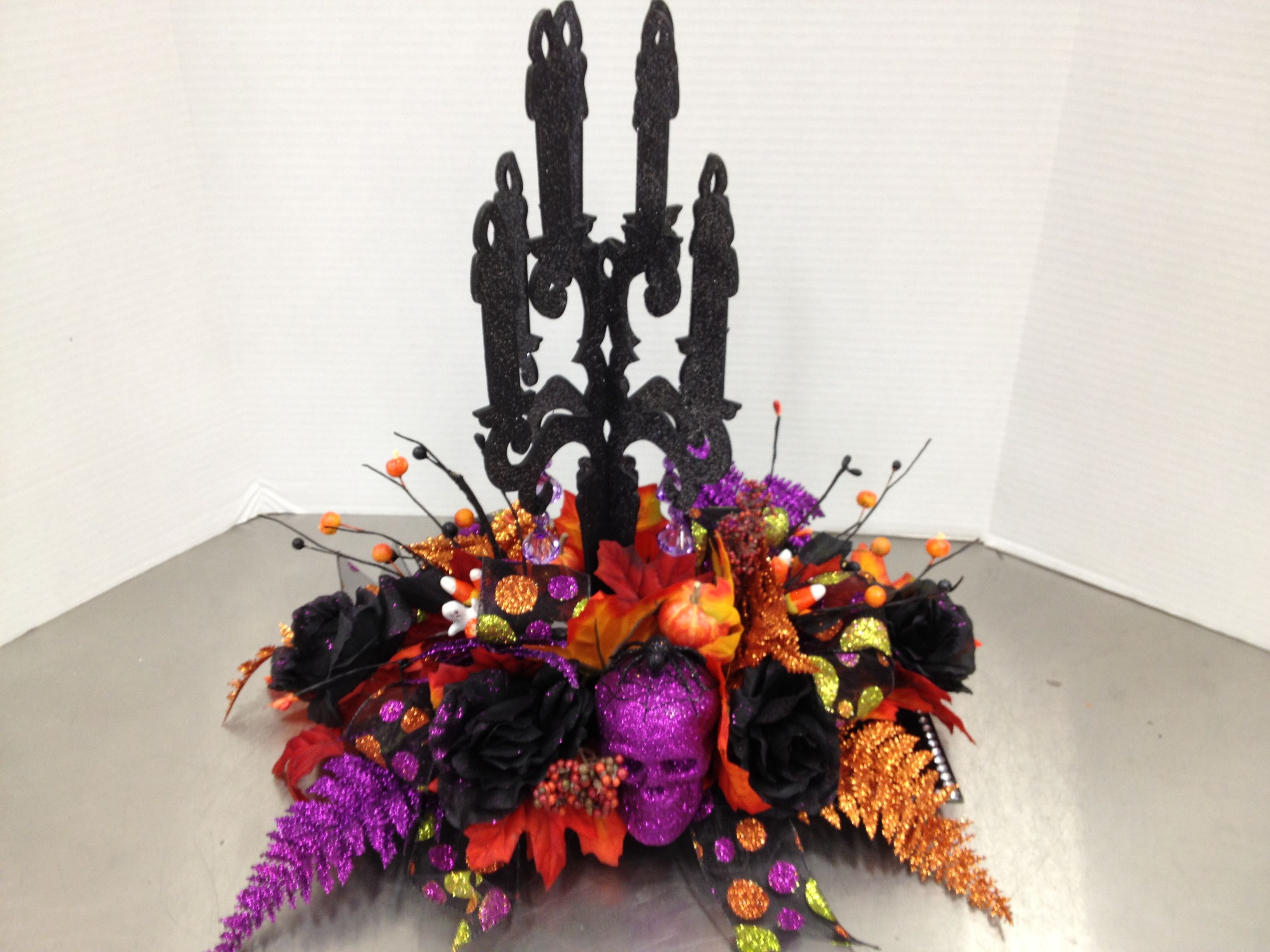 Talented Michaels Designers  Halloween Candy Themed Candelabra Centerpiece Design
