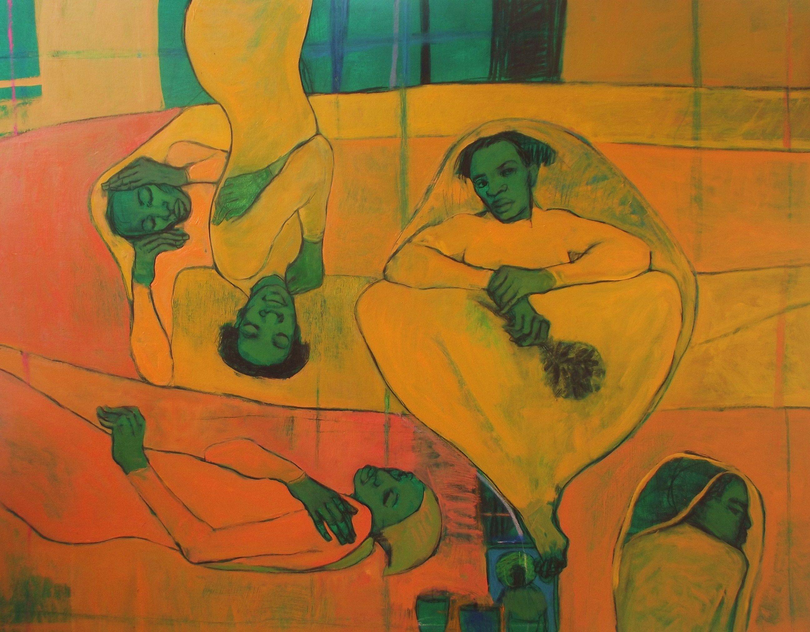 """Lucía Mendez Rivas - pintora """"La novia de las flores secas"""" 107 cm X 127 cm -Oil and charcoal on canvas - Available"""