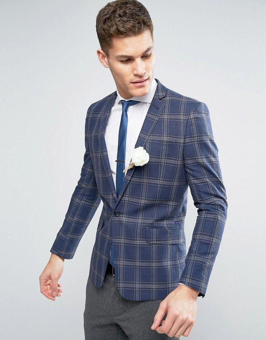ASOS WEDDING Skinny Blazer In Linen Rich Lightweight Check - Blue