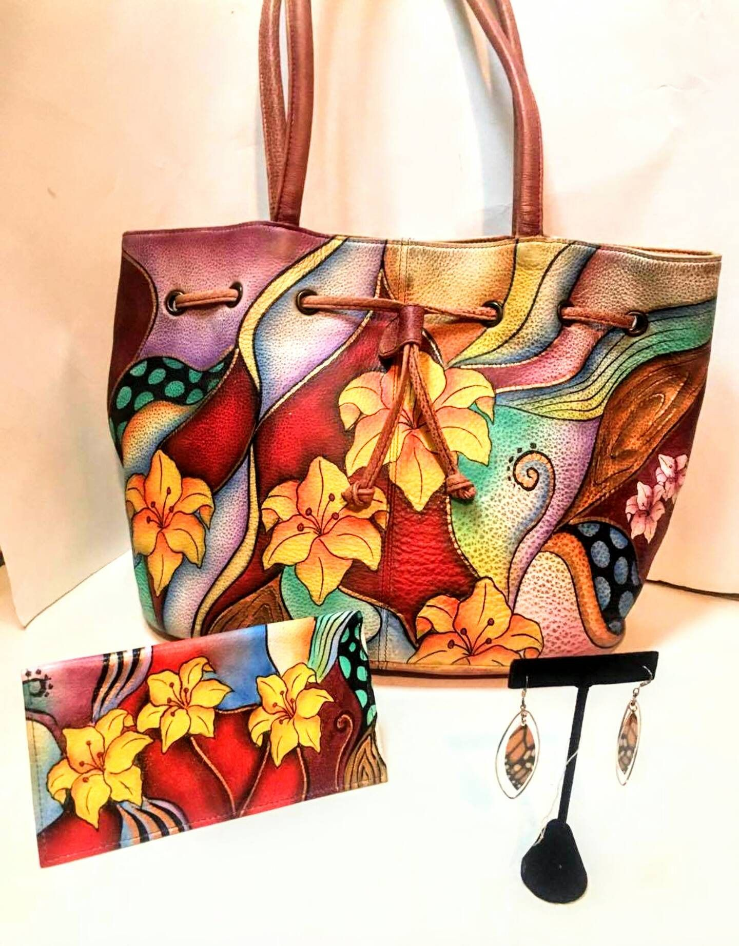 MAKE AN OFFER Anuschka Tribal Lily Set Hand Painted Leather Draw String  Tote Bucket with Credit Card Holder   Check Book Cover Nwt by  TranscendBoutique on ... fcb3d03e27623