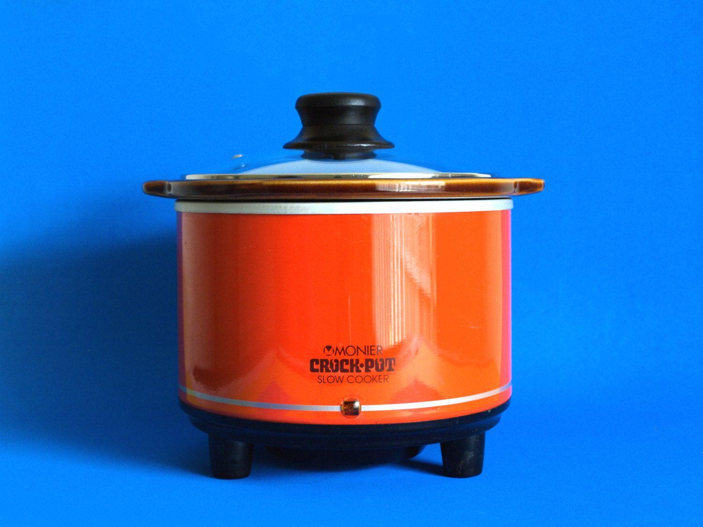 Retro Monier Crock Pot - 70s Orange Red Slow Cooker Crockette - Mod ...