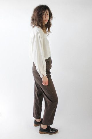 Vintage 80s Black and Brown Striped Pleated Trousers / VAUXSHOP.COM