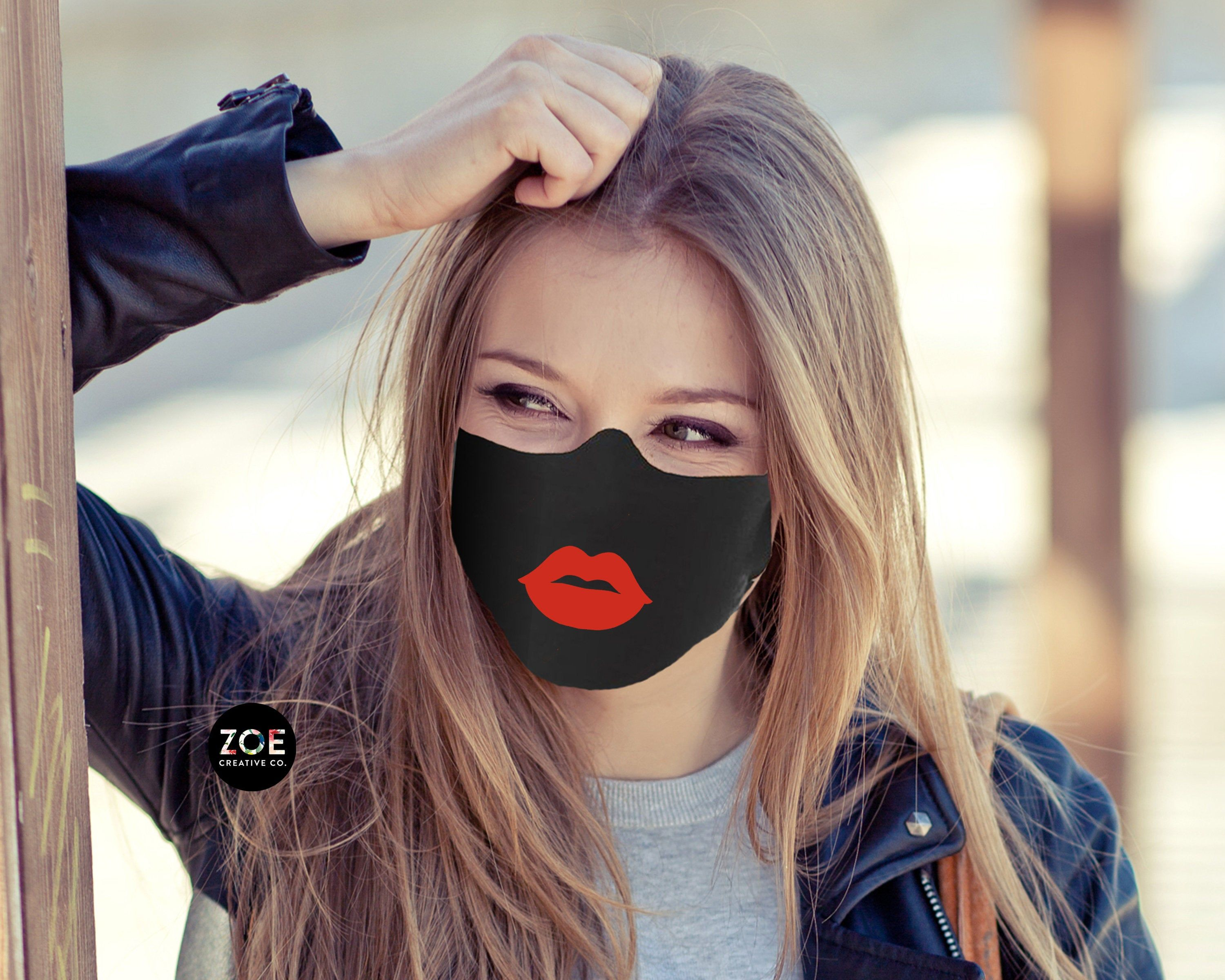 Red Lips Face Mask With Lipstick Face Mask With Lips On It Stylish Face Mask Breathable Washable Face Mask Womens Made In Usa Facemas In 2020 Face Girl Face Face Mask