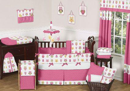 Owl Pink Crib Bedding Set By Jojo Designs Bb Girl S Room Bebe