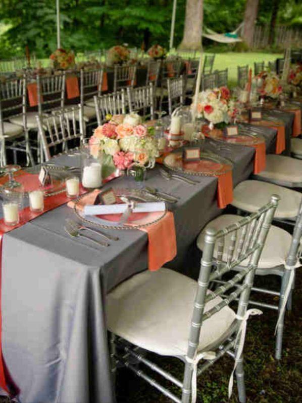 Reception Table Coral Gray Cheap Wedding Reception