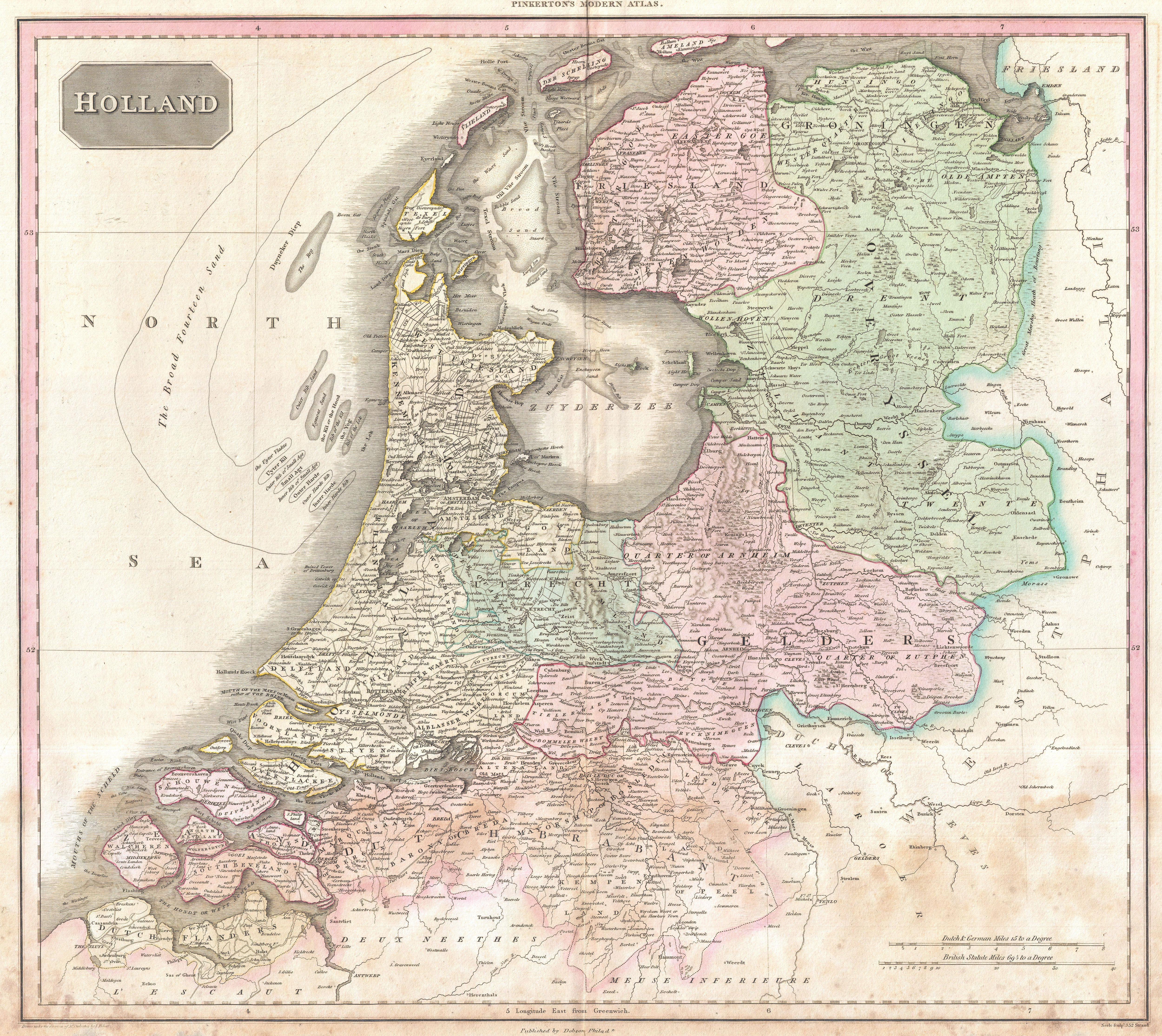 1818pinkertonmapofhollandorthenetherlands geographicus 1818 life size detailed map of the netherlands sciox Gallery