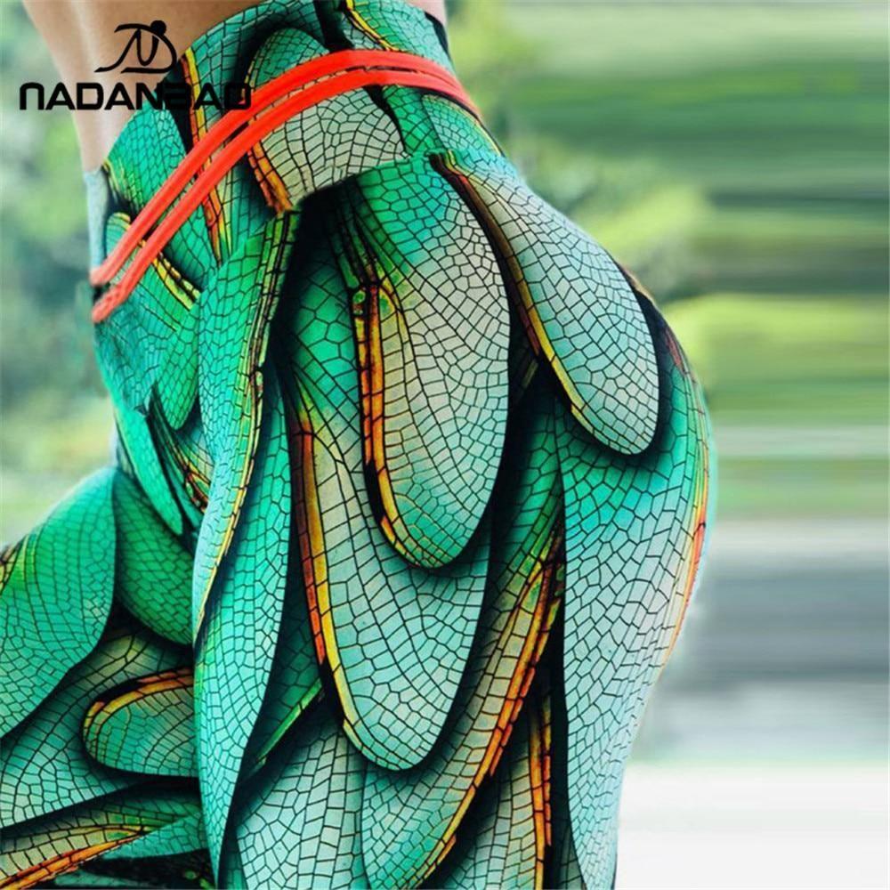 Photo of Summer Sporting Legging Women Green Wings Print High Waist Fitness Leggings Workout Leggin For Girl Plus Size