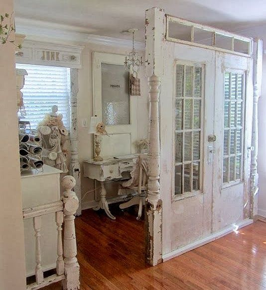 Dishfunctional Designs: New Looks Fthe or Old Salvaged Door a way to divide kids rooms- pale curtains not glass