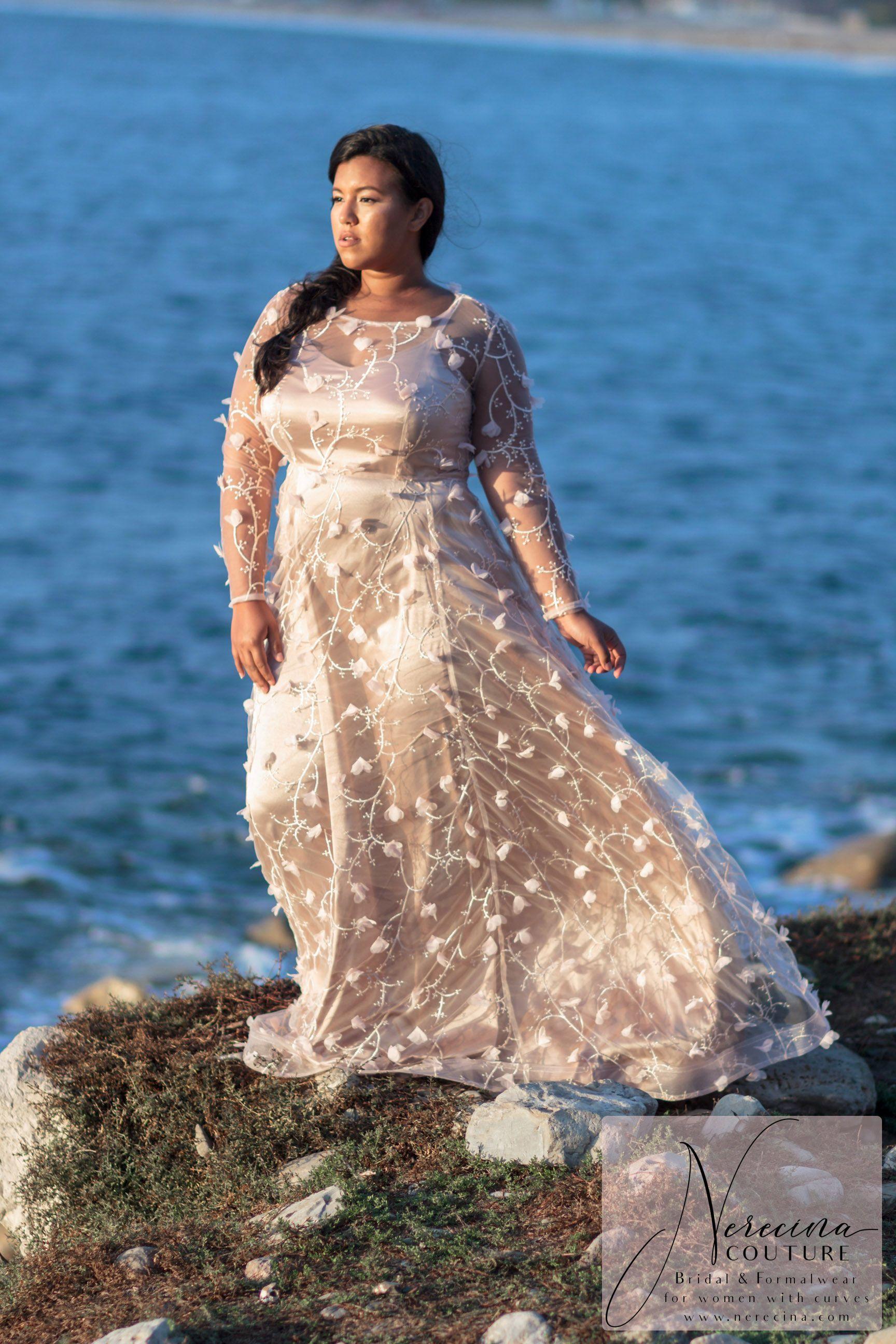 Nerecina Couture Boho Glam Plus Size Wedding Dress Wedding Gowns With Sleeves Plus Size Wedding Dresses Blush Short Wedding Dress [ 2592 x 1728 Pixel ]