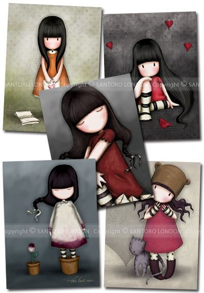 Gorjuss Cards Set 3 - Series 3 - Set of greetings cards featuring the girls from the Santoro Gorjuss range.