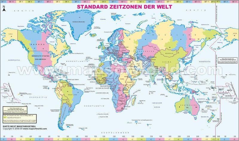 Welt Zeitzonen Karte Time Zone Map Standard Time Zones World