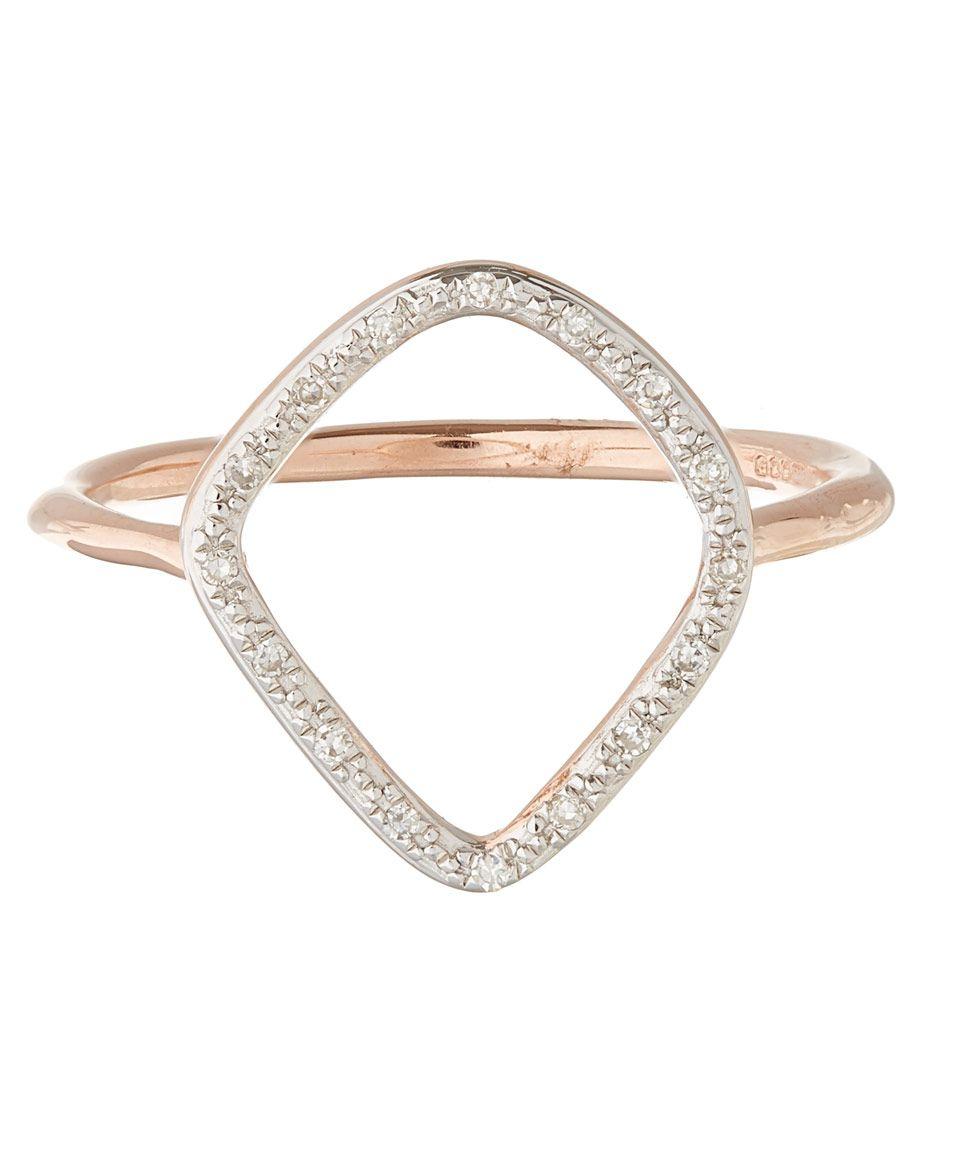 Riva Diamond Hoop Ring, Rose Gold Vermeil on Silver Monica Vinader