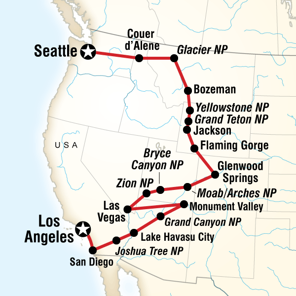 Map Of The Route For Los Angeles To Seattle Road Trip In 2020 Road Trip Usa Road Trip Road Trip Map