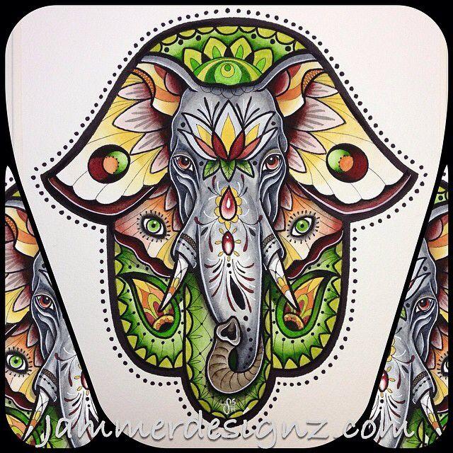 f7a2193bac254 Elephant colour Hamsa Drawing, Hamsa Painting, Hamsa Art, Ganesha Tattoo, Mandala  Tattoo