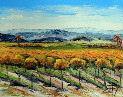 T I T L E: Napa Valley Fall by Lisa Elley. 2014  S I Z E: 11 X 14 X ¾ Inches.   I N S P I R E D* B Y: Living here in the San Francisco Bay Area gives me the wonderful opportunity to paint these iconic California landmarks. Napa Valley is an amazing feel good place. They are still recovering from the earthquake in the township, but the grapes are oblivious! I just love the vineyards with their lush greenery, combined with fall colors and the relaxed ambiance of wine country Sonoma - cheers! P…