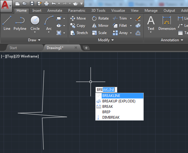 By definition, a Break line in AutoCAD is a polyline in