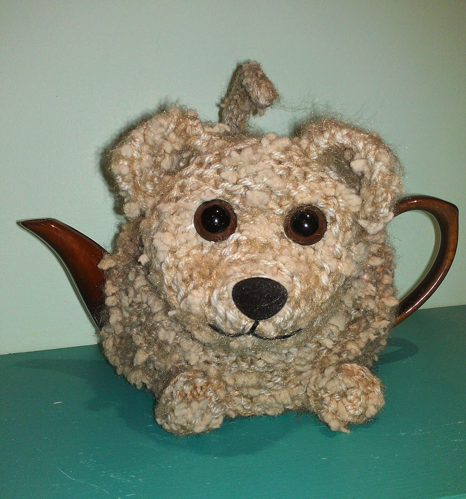 Knit buster the puppy tea cosy from the same pattern as for alfie craft a cure for cancer free tea cosy patterns animal tea cosies bankloansurffo Images