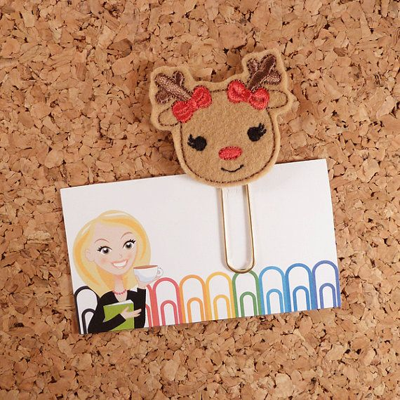 bookmark filofax Cute woodland deer paper planner clip Embroidery