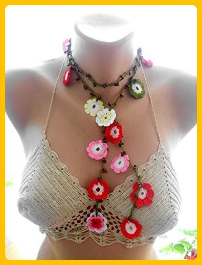 Crochet necklace, multicolor flower with beaded - Wedding nacklaces (*Amazon Partner-Link)