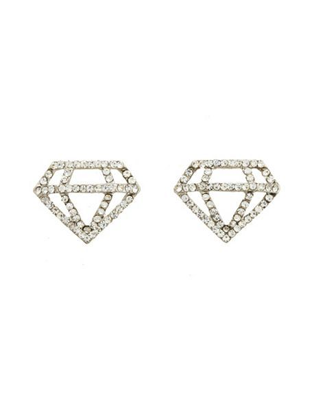 Rhinestone Diamond Stud Earrings: Charlotte Russe