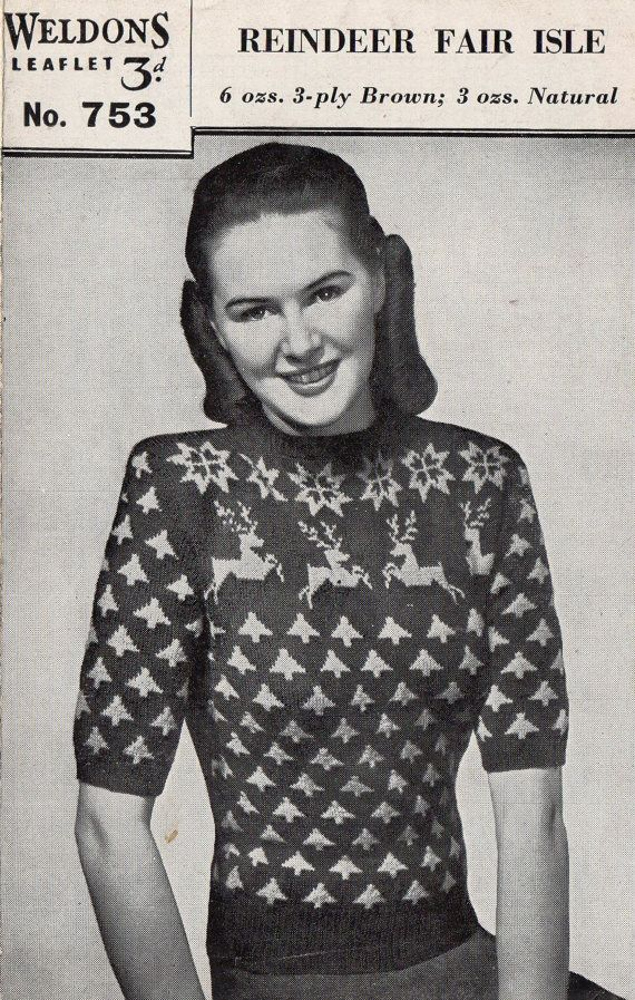1940's Weldons 753 PDF Knitting Pattern - Vintage Fair Isle Jumper ...