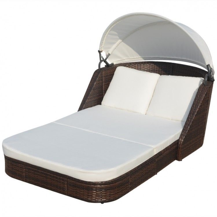 Rattan Sun Lounger With Canopy Poly Brown Sunbed Daybed 2 Person