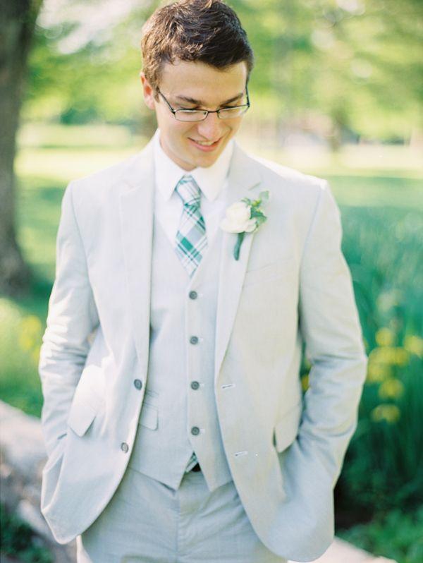 Groom-in-Gray-Suit-Green-Tie | Green tie, Peach weddings and ...