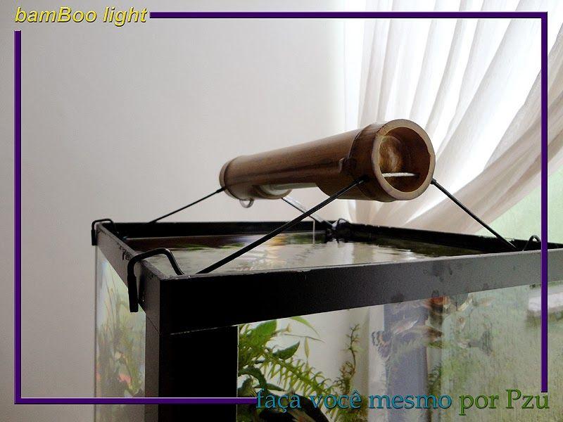 Bambu Arredamento ~ Luminária para aquário com l mpada econômica feita de bambu