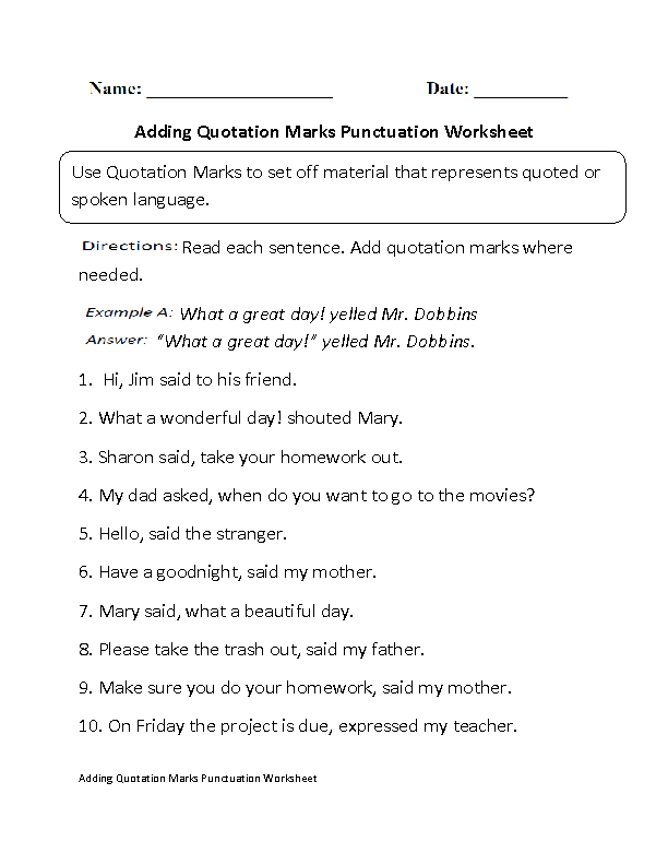 adding quotation marks punctuation worksheet part 1 beginner board. Black Bedroom Furniture Sets. Home Design Ideas