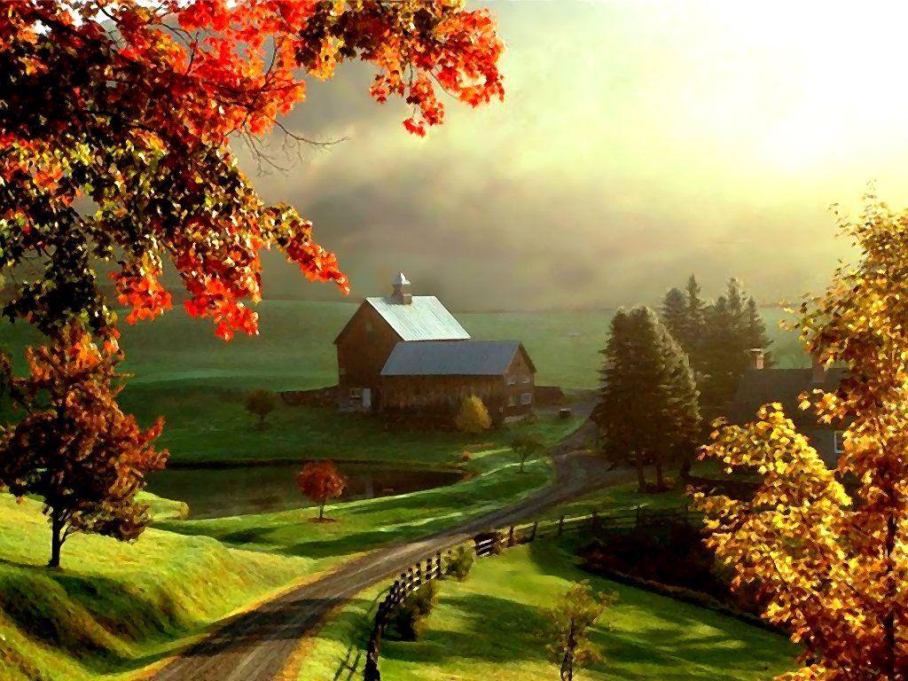 beautiful winter country scenes | Beautiful Farm, art, autum ...
