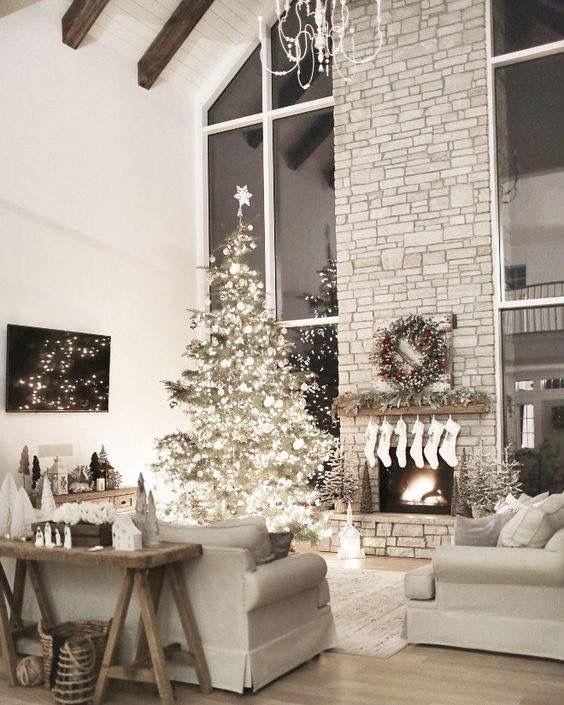 Beautiful christmas tree holiday decorating ideas stone fireplace decor tall farmhouse also pin by deborah carlson on joy pinterest home rh