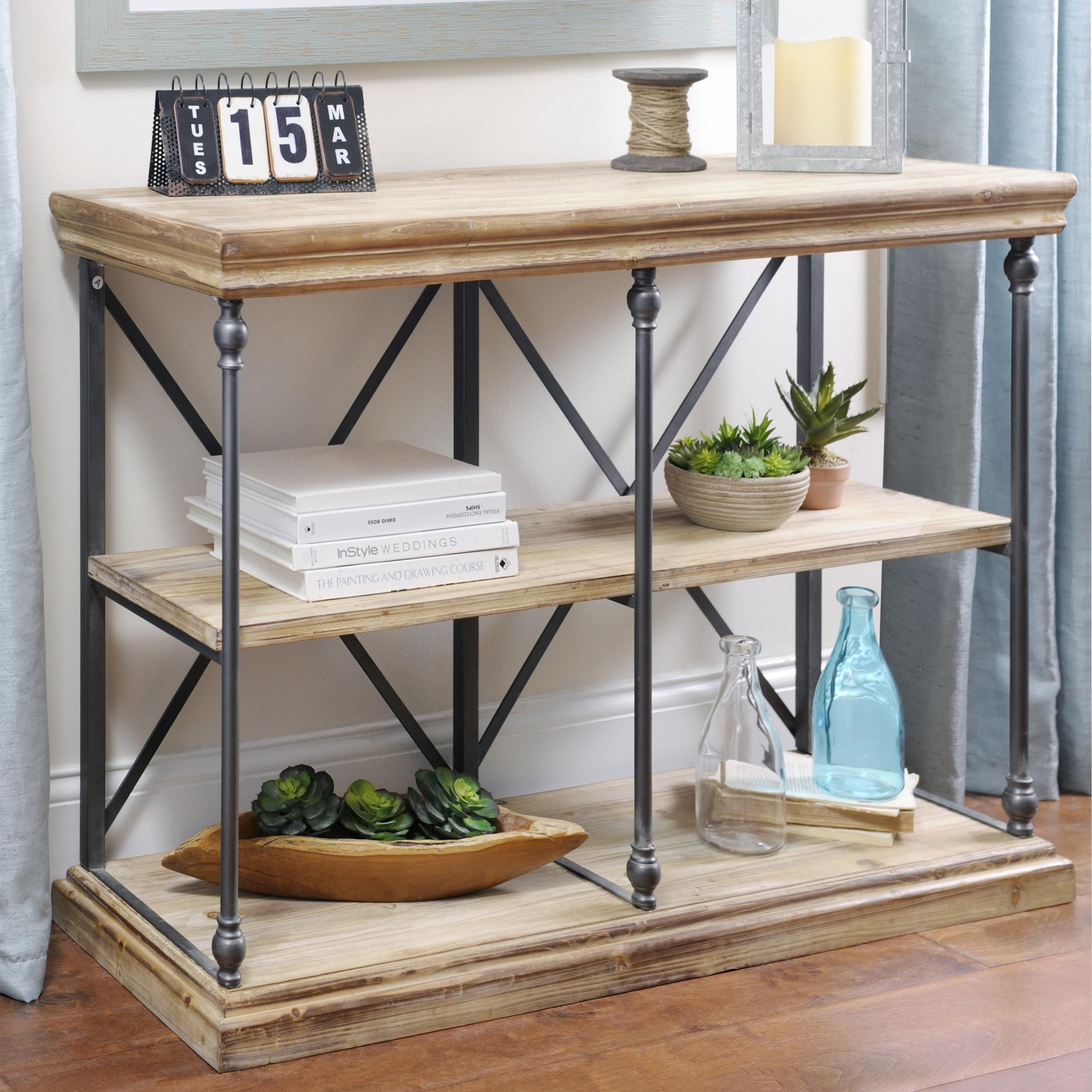 Sonoma two tier console table reclaimed wood shelves for Two tier desk ikea
