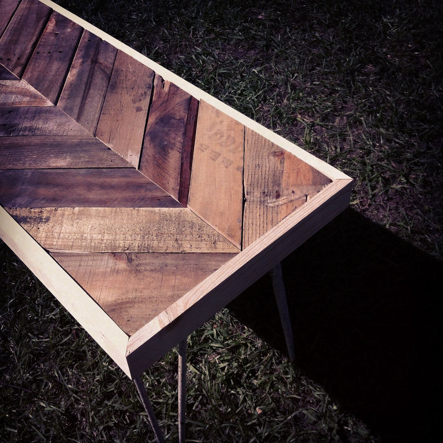 Reclaimed Pallet Dining Table And Bench Hairpin Legs By: THIS For The Desk!!! Reclaimed Chevron Herringbone Pallet