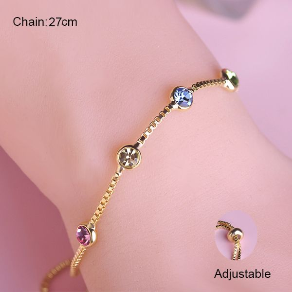 Summer Style Thin Chain Bracelets Korean Simple Design Bracelet Gold Color Round Pink Blue Crystals Pulseira Feminina Joias