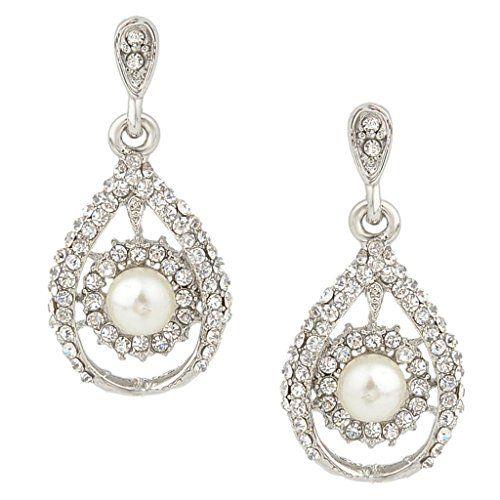 EVER FAITH® Austrian Crystal Ivory Color Simulated Pearl Flower Bridal Clip On Earrings A07216-2 r06CvRDv