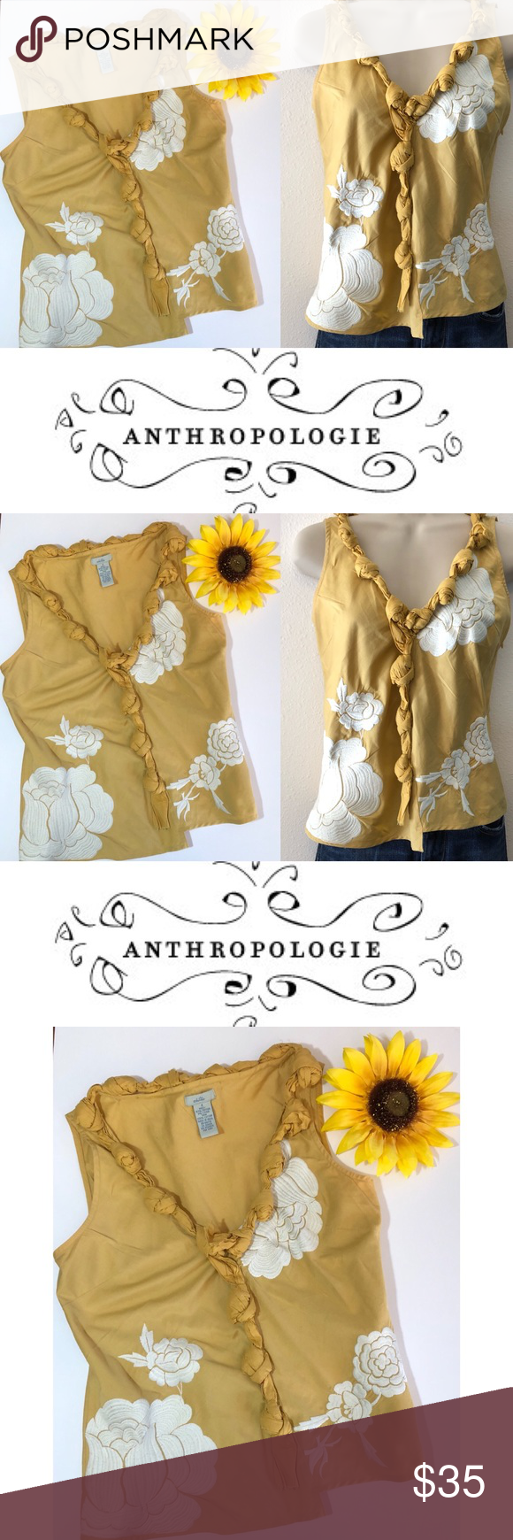 Anthropologie odille gold floral embroidered top gold top