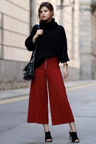 237aa04c0f91 Женские брюки-кюлоты-2017  фото модных образов, с чем носить штаны-кюлоты