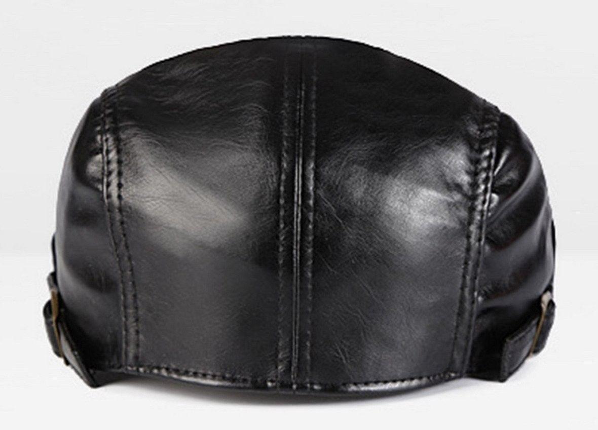 4f1546db2f5 Men PU Leather Duckbill Cap Vintage Ivy Newsboy Cap Flat Cap Cabby Hat -  Black - CU12NDYIUNB - Hats   Caps