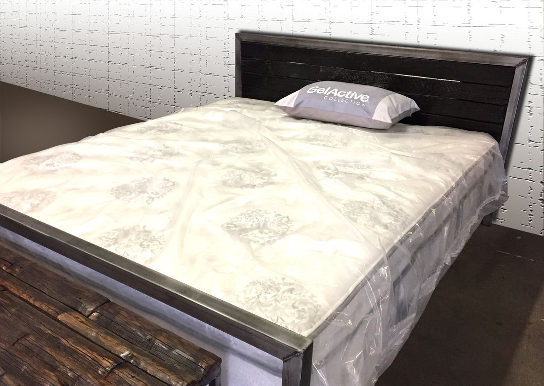 denver colorado industrial furniture modern. Metal Bed With Dark Wood Headboard. Locally Made In Denver Colorado. Industrial Furniture/ Colorado Furniture Modern U