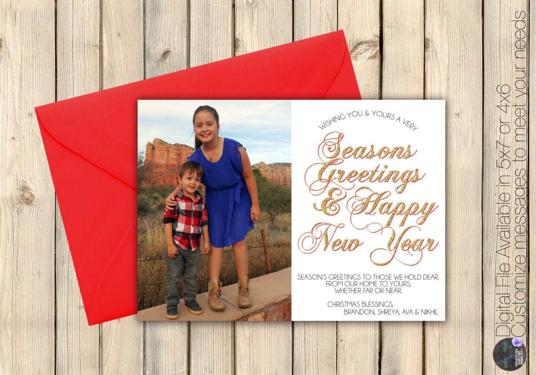Photo Seasons Greetings Merry Christmas Happy New Year Card