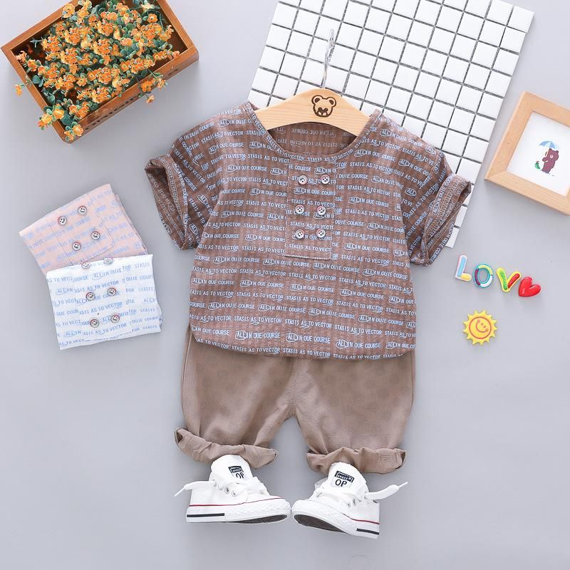Toddler Kids Baby Boys Outfit Clothes Blouse T-shirt Tops+Long Pants Summer Set