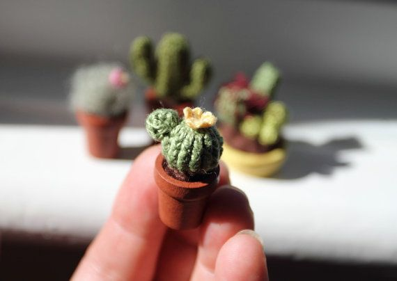 Miniature Cactus Crochet Plant In Wooden Pot Collectable Amigurumi