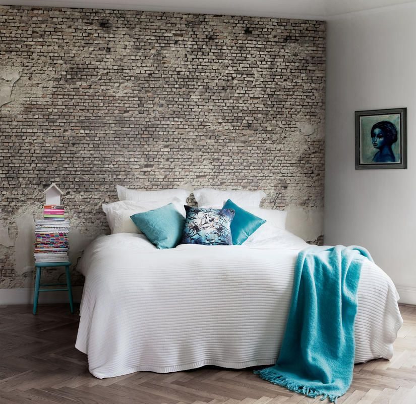 great bedroom with amazing rustic brick wallpaper! http://www.mrperswall.com/