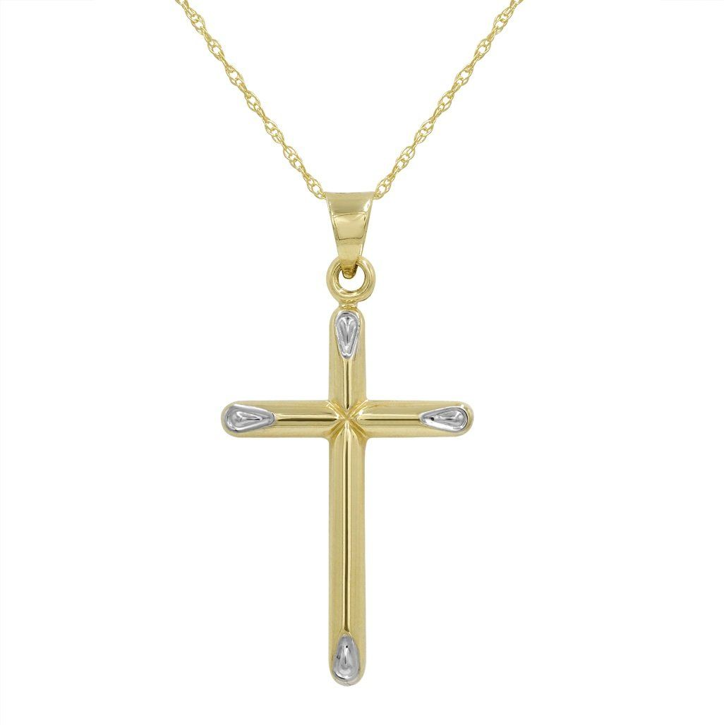 K yellow gold cross pendant necklace on an in chain products