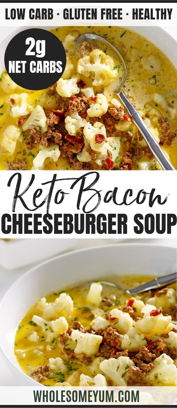 Bacon Cheeseburger Soup (Low Carb, Gluten-Free)