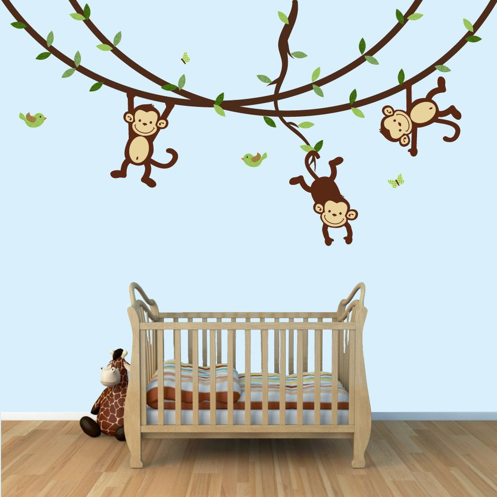 4 Cute Monkeys Wall Decals Sticker Nursery Decor Mural: Monkey Murals, Monkey Wall Murals, Childrens Wall Mural