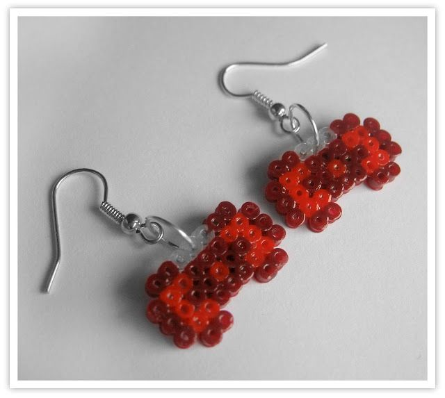 Bow Earrings hama mini beads by Pixel Art Shop