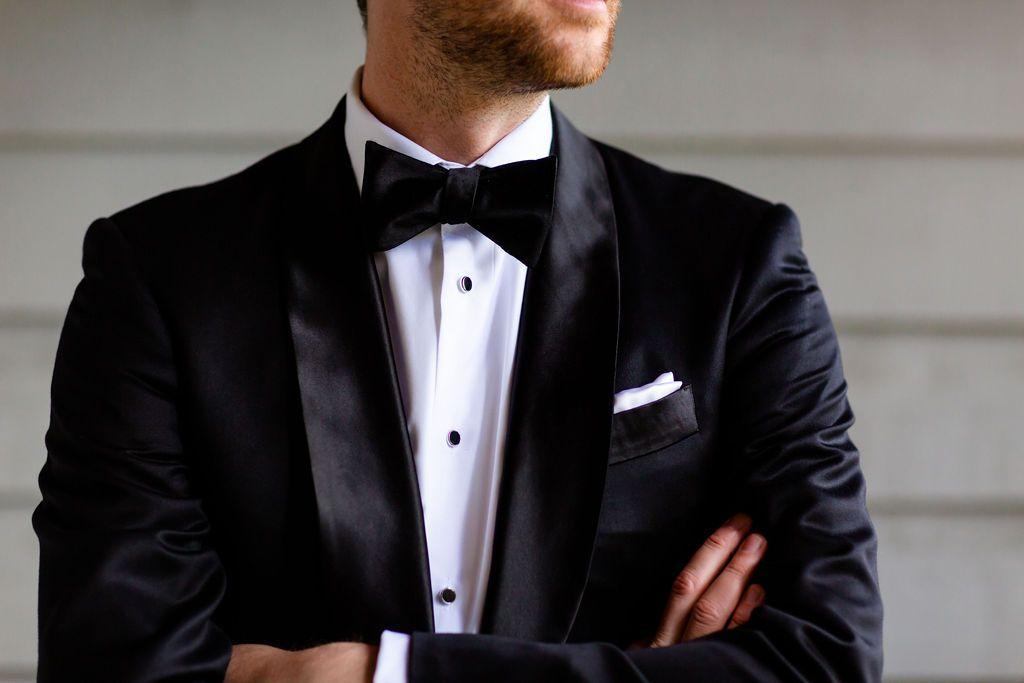 Bow Tie Wedding Suit In 2020 Black Suit Wedding Wedding Suits Wedding Planning Inspiration